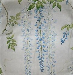 Colefax And Fowler Wisteria Glazed Cotton Linen Fabric 10 Yards Blue Green Cream