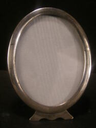 20and039s Antique Deco Sterling Cabinet Card Photo Picture Portrait Easel Oval Frame