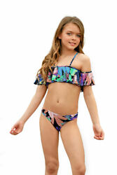 NEW Top Seller PilyQ 2pc Vibrant Tropical Cold Shoulder Girls Swimsuit 8 lk 7 $79.99