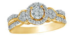 0.75 Ct Round Cut Diamond Frame Double Row Engagement Ring In 10k Yellow Gold