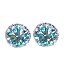 2.75 Ct Lab Created Light Blue Moissanite Sterling Silver 4 Prong Stud Earrings