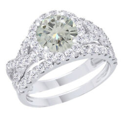 3.75 Ct Genuine Moissanite Engagement Bridal Set Ring Jewelry In 10k White Gold