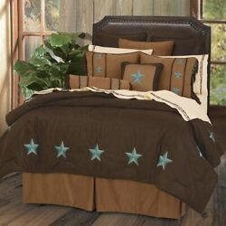 Laredo Turquoise Star Rustic Faux Suede Western Country Twin 5-piece Bed Set