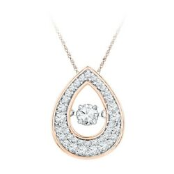 1/2 Ct Natural Dancing Diamond Pendant In 10k Rose Gold 18 Chain Necklace