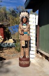 John Gallagher Carved Wooden Cigar Store Indian 4 Ft. White Buffalo Knife Statue