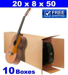 10 - 20x8x50 Acoustic Guitar Shipping Packing Boxes Moving Keyboard Heavy Duty