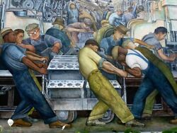 Diego Rivera Mural -1932 Ford Motor Workers - Canvas Or Print Wall Art