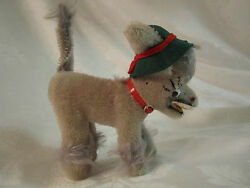 Vintage Anker Germany Mohair Laughing Donkey Mufti Green Hat And Red Collar 1960s