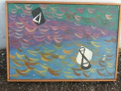 Modernist Mcm Painting Helen Rennie American The Bay - Blue And Gold 1954