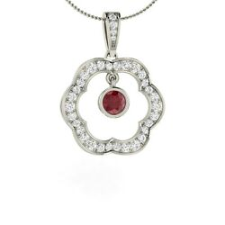 Natural Genuine Ruby And Si Diamond Pendant / Necklace In 14k White Gold -0.73 Ct