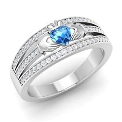 Certified 0.65 Ct Heart Cut Blue Topaz And Diamond 14k White Gold Engagement Ring