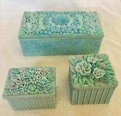 Set Of 3 Very Rare Antique Trinket Jewelry Box Floral 3-d Lid