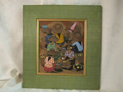 Original Painting Open Air Market Scene Andndash A Thai Leaf Painting - Signed