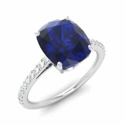 1.19 Cttw Cushion Blue Sapphire And Diamond Wedding Engagement Ring 14k White Gold