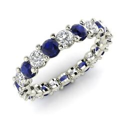 Certified 2.54 Ctw Blue Sapphire And Si Diamond 10k White Gold Eternity Band Ring