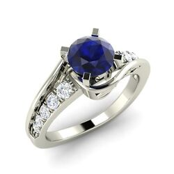 Natural Blue Sapphire Side Stone Unique Design Engagement Ring In 14k White Gold