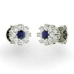 Certified 0.96ct Natural Blue Sapphire And Diamond Stud Earrings In 14k White Gold