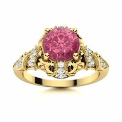 14k Yellow Gold Natural Tourmaline And Si Diamond Engagement Ring Vintage Art Deco