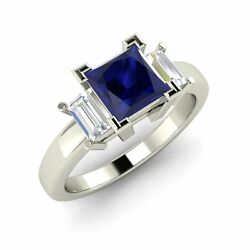 Three Stone Engagement Ring With 0.92 Cttw Blue Sapphire In Solid 14k White Gold