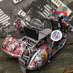 Bespoke Tin Plate Retro 'rock Of Ages' Vespa And Vw Beetle Sidecar Model Scooter