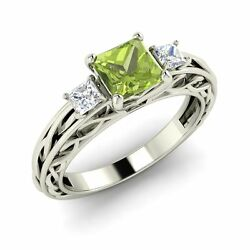 Three Stone Engagement Ring With 0.84 Cttw Peridot In Solid 14k White Gold