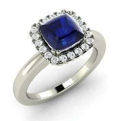 0.84ct Cushion Natural Blue Sapphire And Diamond Engagement Ring In 14k White Gold