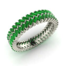 3.6 Cttw Emerald Wedding Ring / Band In Solid 14k White Gold-free Shipping