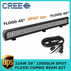 36'' 234w Led Light Bar+harness Kit Combo Offroad Driving For Jeep Suv 4wd Ford