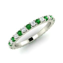 14k Solid White Gold Natural Emerald And Si Diamond Eternity Wedding Band / Ring