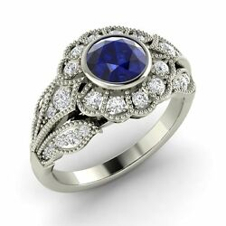 Certified 1.13 Tcw Blue Sapphire And Si Diamond Engagement Ring In 14k White Gold