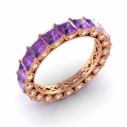 Certified 3.49 Ct Princess Amethyst And Diamond Eternity Band Ring 18k Rose Gold