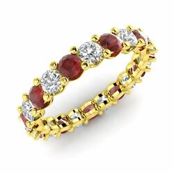 Certified 2.34 Ctw Garnet And Gh Si Diamond 14k Yellow Gold Eternity Band Ring