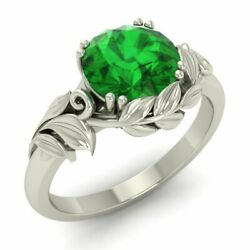 3/4 Carat Natural Emerald Solitaire Leaf Engagement Ring In 14k White Gold
