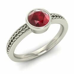 Certified 1.01 Cts Natural Ruby Solid 14k White Gold Solitaire Engagement Ring
