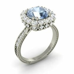 10k White Gold Certified 3.06 Ct Natural Aquamarine And Si Diamond Engagement Ring
