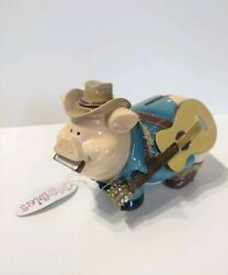 Cowboy Pig Piggy Bank By Gift Craft Classy Cow Pig Resin Coin Bank
