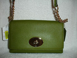 NWT COACH Crosstown Crossbody Bag Pebbled Leather Moss Green 53083 $109.99