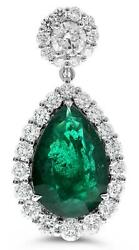 LARGE 11.27CT DIAMOND & AAA EMERALD 18KT WHITE GOLD PEAR SHAPE HANGING EARRINGS
