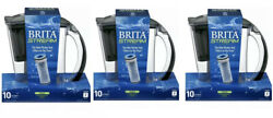 Lot (3) BRITA Stream Water Filter Pitchers 10 Cup Purifier Filter as You Pour