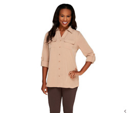 Denim And Co. Roll Tab Sleeve Button Front Soft Utility Tunic In Mocha, Xl