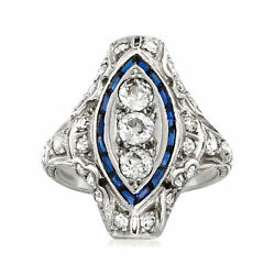 Vintage Diamond And Simulated Sapphire Ring In Platinum Size 6.5