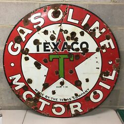 """Rare 1932 Vintage Texaco Porcelain 42"""" Double Sided Sign Gas Oil Advertising"""