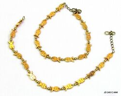 Golden Fish Antique Charms Barefoot Anklets Pair Ethnic Gypsy, Bohemian, Gypsy
