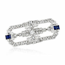 Vintage Diamond And Synthetic Sapphire Pin In Platinum And 18kt White Gold
