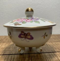 Vintage Lefton China Hand Painted With Flowers And Butterflies Candy Dish 698.