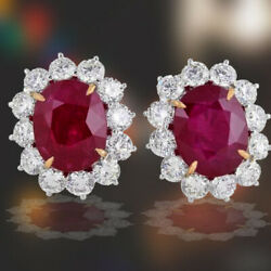 15.10 carats of natural Ruby 5.65 of F color VS clarity round brilliant diamond