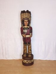 John Gallagher Carved Wooden Cigar Store Indian 5 Ft.tall Statue Tomahawk