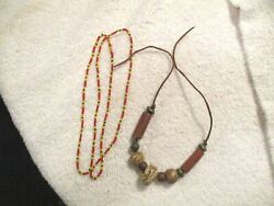 2 Vintage Native American Necklaces Seed Beaded And Chunky Style W/leather Tie