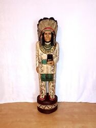 John Gallagher Carved Wooden Cigar Store Indian 6 Ft.tall Statue