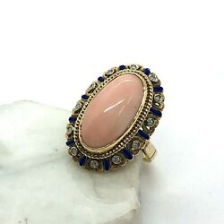 Vintage 18kt Yellow Gold, Enamel, And Angel Skin Coral Ring